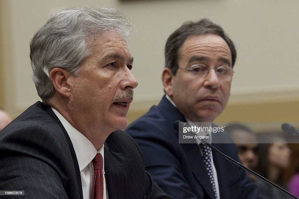 Deputy Secretary of State William Burns (L) and Deputy Secretary of State for Management and Resources Thomas Nides testify during the House Foreign Affairs Committee on the September 11th attack in Benghazi against the U.S. consulate, on Capitol Hill, December 20, 2012 in Washington, DC. Secretary of State Hillary Clinton was scheduled to testify, but was unable to attend due to an illness.