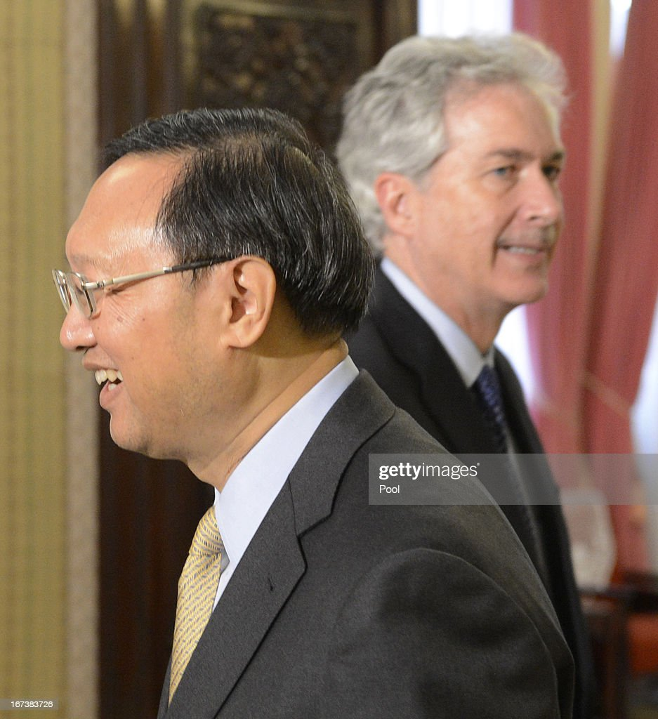U.S. Deputy Secretary of State William Burns (R) finished shakes hands with Chinese state councilor Yang Jiechi during their meeting at the zhongnanhai on April 25, 2013 in Beijing, China. Burns is on a two-day visit to China to speak with officials on China-US relations.
