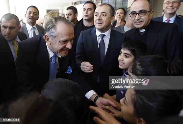 Deputy SecretaryGeneral Jan Eliasson speaks to students while accompanied by Lebanese Education Minister Elias Bou Saab at a school for Syrian child...
