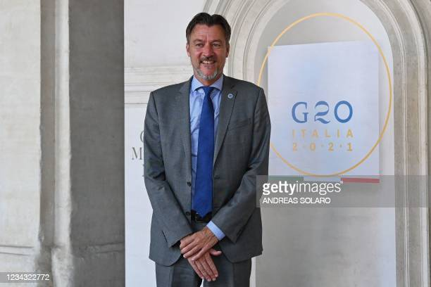 Deputy Secretary-General of the OECD Ulrik Vestergaard Knudsen poses for photographers as he arrives for the roundtable of the G20 Culture Ministers...