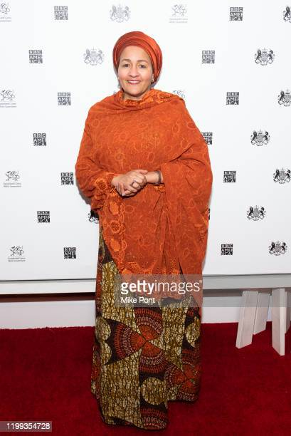 Deputy SecretaryGeneral of the United Nations Amina J Mohammed attends the Seven Worlds One Planet Screening at Crosby Hotel on January 13 2020 in...