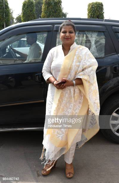 Deputy speaker Delhi Vidhan Sabha Rakhi Birla arrives for the Delhi Assembly budget Session on March 19 2018 in New Delhi India