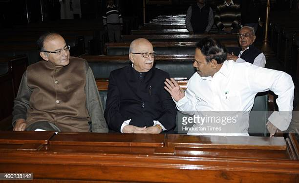 Deputy Speaker of Lok Sabha M Thambi Durai with BJP leader Lal Krishan Advani and Minister of Finance Arun Jaitley during a function to pay tribute...