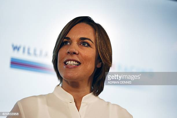 Deputy Team Principal Claire Williams speaks during the announcement by Williams Martini Racing of their driver line up for the 2017 FIA Formula One...
