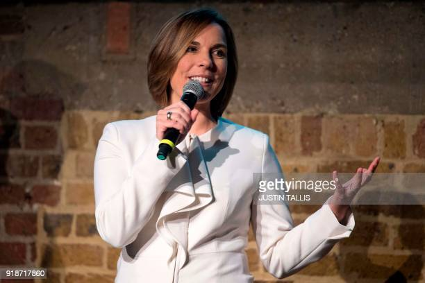 Deputy team principal Claire Williams speaks during the Williams Formula One 2018 season launch in London on February 15 2018 / AFP PHOTO / Justin...