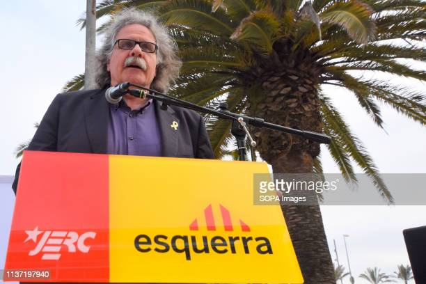 EL VENDRELL TARRAGONA SPAIN Deputy to the Congress by ERC Joan Trada seen speaking during the parliaments of the political act at the electoral...