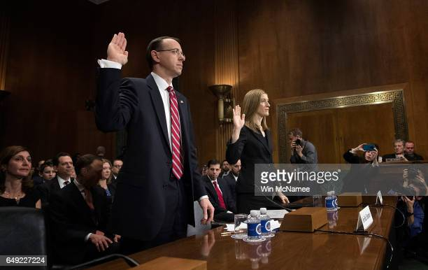 Deputy US Attorney General nominee Rod Rosenstein and Rachel Brand nominee for associate attorney general are sworn in prior to testimony before the...