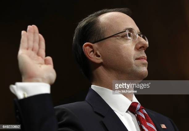 Deputy US Attorney General nominee Rod Rosenstein is sworn in prior to testimony before the Senate Judiciary Committee March 7 2017 in Washington DC...