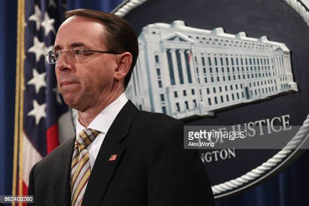 Deputy US Attorney General Rod Rosenstein listens during a news conference October 17 2017 at the Justice Department in Washington DC Rosenstein held...