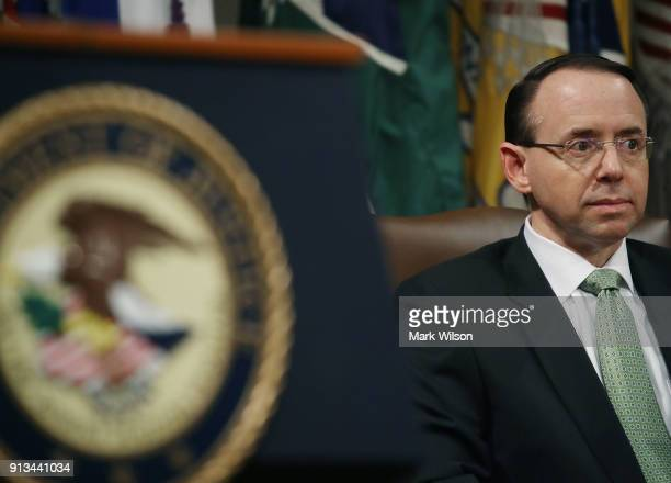 Deputy US Attorney General Rod Rosenstein participates in a summit to discuss efforts to combat human trafficking at the Justice Department on...