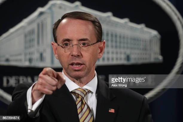 Deputy US Attorney General Rod Rosenstein speaks during a news conference October 17 2017 at the Justice Department in Washington DC Rosenstein held...