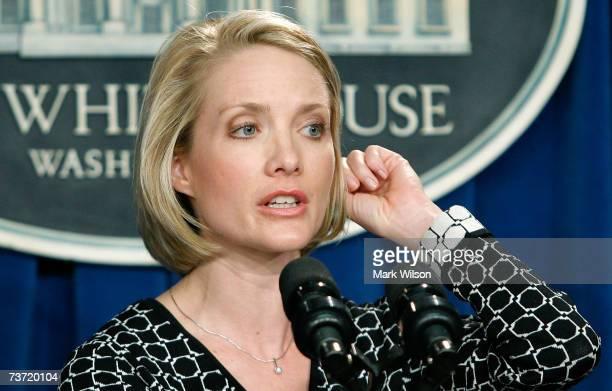 Deputy White House Press Secretary Dana Perino talks to reporters about White House Press Secretary Tony Snow during a briefing at the White House...