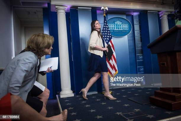 Deputy White House press secretary Sarah Huckabee Sanders walks out to speak during the daily briefing at the White House in Washington DC on...
