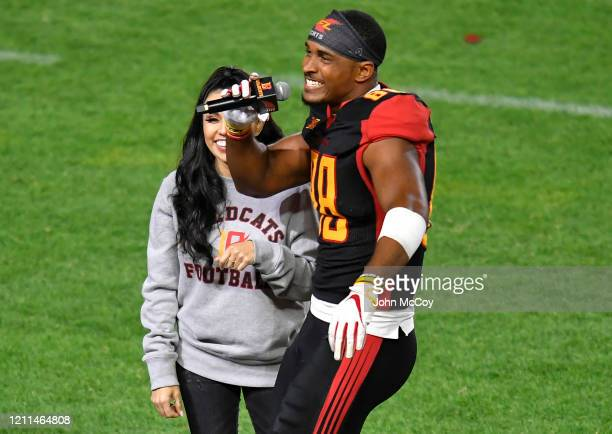 De'Quan Hampton of the LA Wildcats is interviewed during the game against Tampa Bay Vipers at Dignity Health Sports Park during an XFL game on March...