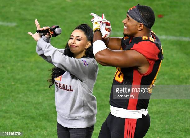 De'Quan Hampton of the LA Wildcats is interviewed on the sideline while playing the Tampa Bay Vipers at Dignity Health Sports Park during an XFL game...