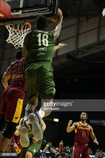 DeQuan Jones of the Fort Wayne Mad Ants battles Gerald Beverly of the Canton Charge on March 16 2018 at Memorial Coliseum in Fort Wayne Indiana NOTE...