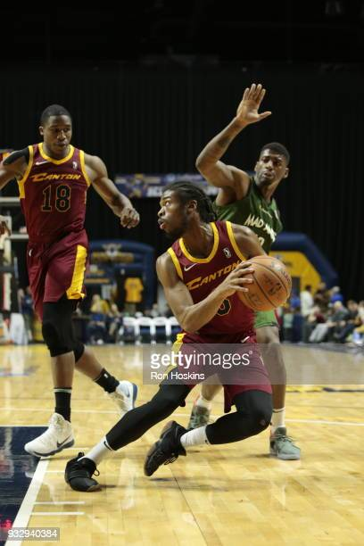 DeQuan Jones of the Fort Wayne Mad Ants battles Marcus Thornton of the Canton Charge on March 16 2018 at Memorial Coliseum in Fort Wayne Indiana NOTE...