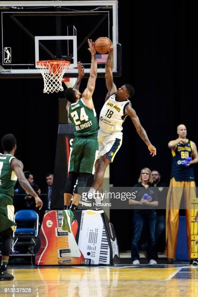 DeQuan Jones of the Fort Wayne Mad Ants drives to the basket against Joel Bolomboy of the Wisconsin Herd on February 1 2018 at Memorial Coliseum in...