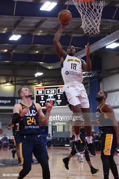 DeQuan Jones of the Fort Wayne Mad Ants handles the ball during the NBA GLeague Showcase Game 23 between the Salt Lake City Stars and the Fort Wayne...