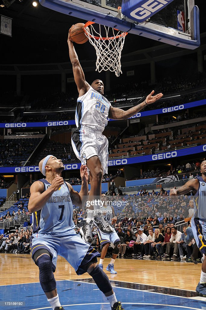 DeQuan Jones #20 of the Orlando Magic goes to the basket during the game between the Memphis Grizzlies and the Orlando Magic on March 3, 2013 at Amway Center in Orlando, Florida.