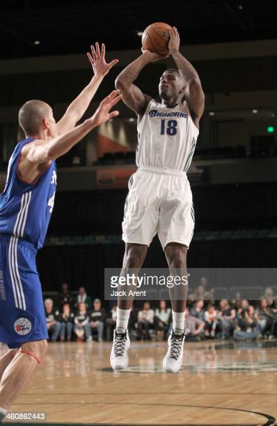 DeQuan Jones of the Reno Bighorns shoots the ball against the Delaware 87ers during the 2014 NBA DLeague Showcase presented by Samsung Galaxy on...