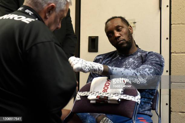 Dequan Townsend has his hands wrapped backstage during the UFC Fight Night event at Santa Ana Star Center on February 15, 2020 in Rio Rancho, New...