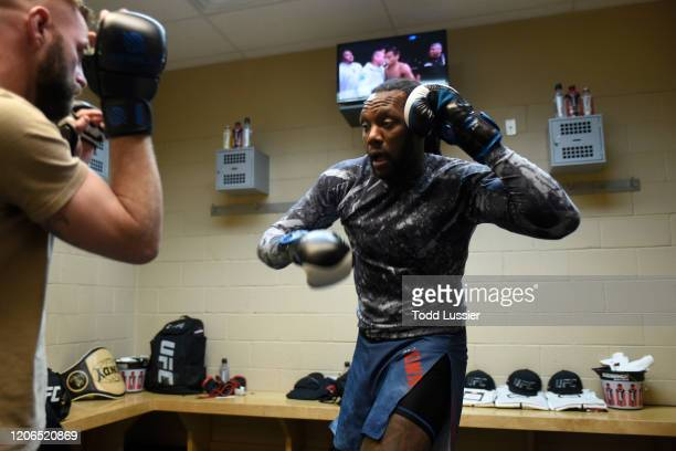 Dequan Townsend warms up backstage during the UFC Fight Night event at Santa Ana Star Center on February 15, 2020 in Rio Rancho, New Mexico.