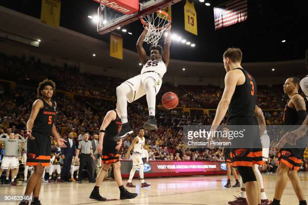 De'Quon Lake of the Arizona State Sun Devils slam dunks the ball against the Oregon State Beavers during the second half of the college basketball...