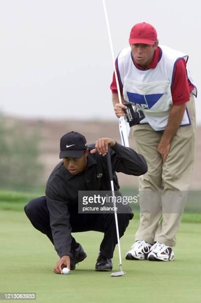 Der 23jährige USAmerikaner Tiger Woods liest am in StLeonRot beim mit 33 Millionen Mark dotierten PGATurnier Deutsche BankSAP Open im Rahmen der...