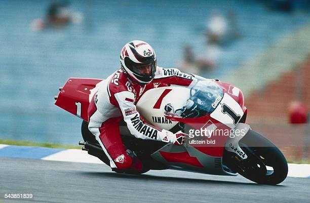 Der amerikanische Motorradrennfahrer Wayne Rainey auf seiner Yamaha beim HockenheimGrand Prix