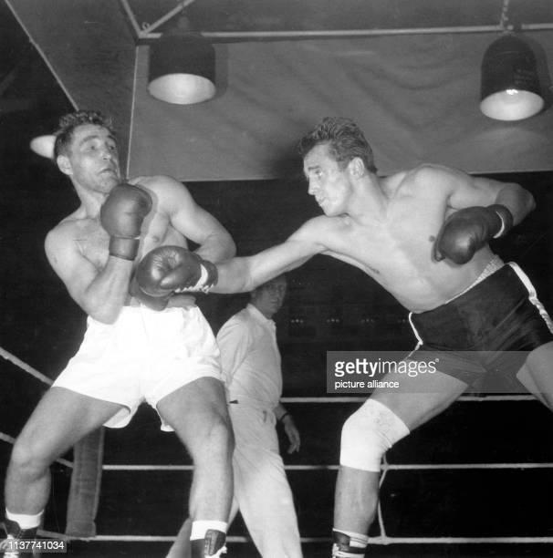 Der Bremer Halbschwergewichtsboxer Franz Szüzina muss am im Berliner Sportpalast im Kampf gegen Gustav Bubi Scholz zum ersten Mal in seiner Laufbahn...
