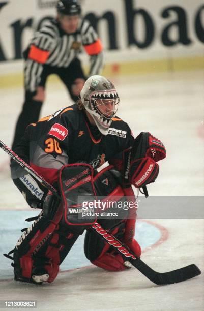 Der deutsche Eishockey-Nationaltorwart Joseph Heiß verfolgt am 3.11.1996 in der Stuttgarter Schleyerhalle während des Länderspiels gegen die Slowakei...