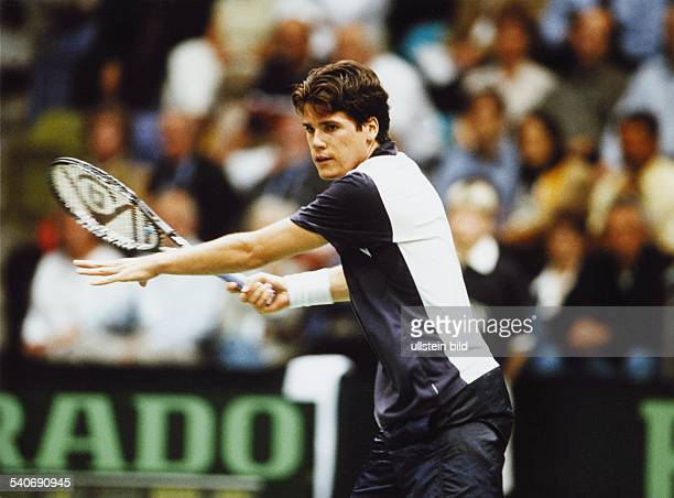 Der deutsche Tennisspieler Thomas Haas gewann beim DavisCup in Frankfurt am Main gegen Safin in fünf Sätzen Aufgenommen 1999
