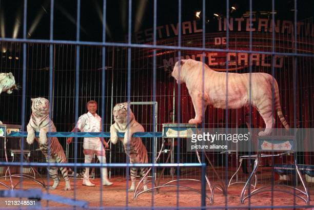 Der deutsche Tierlehrer und Zirkusdirektor Gerd Siemoneit-Barum steht am 3.2.1998 beim 22. Internationalen Circus-Festival in Monte Carlo mit seiner...