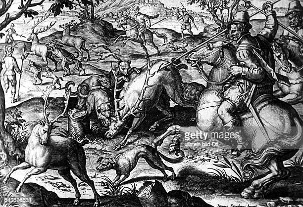 'Der gehetzte Hirsch wird tödlich getroffen'Jagdszenen von Johann Stradanus Stich von Carel Collaert 16 Jahrhundert