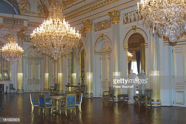 Der Große Weiße Salon, Belgischer Königspalast, Brüssel/Belgien, Europa, , Königshaus, Kronleuchter, Stuhl, Tisch, Palast, Reise,