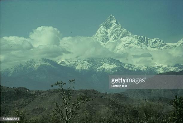 Der heilige Berg Machhapuchhare in derNähe von Pokhara 1991