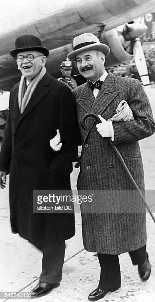 Der italienische Botschafter BernardoAttolico und sein französischerAmtskollege Andre FrancoisPoncet vor dem Abflug aus München nachBerlin