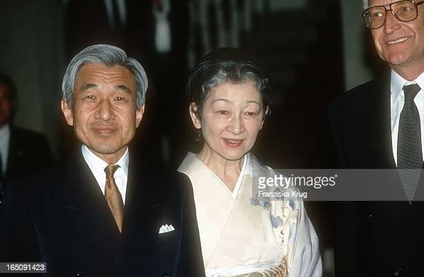 Der Japanische Kaiser Akihito Und Seine Ehefrau Kaiserin Michiko In München