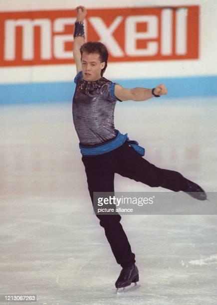 Der Kanadier Kurt Browning bei seinem Kür-Vortrag am bei den Eiskunstlauf-Weltmeisterschaften in München. Browning wurde Weltmeister und konnte damit...