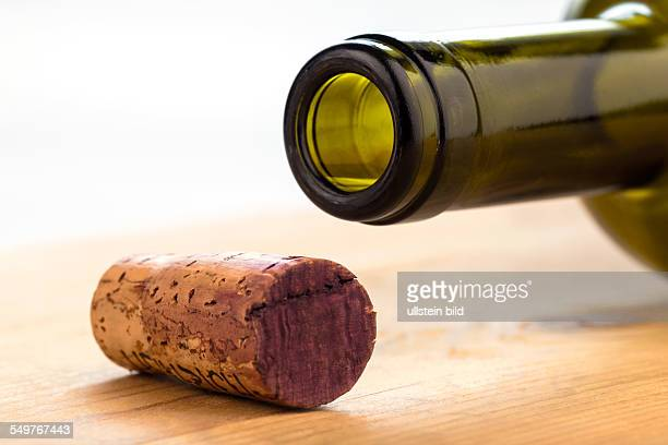 Der Korken einer Flasche Rotwein Flasche und Korken