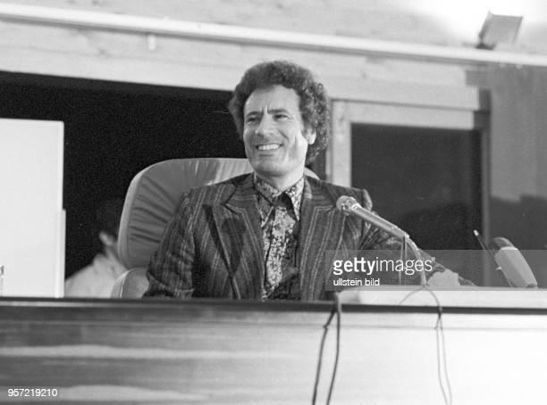 Der libysche Revolutionsführer Oberst Muammar Abu Minyar alGaddafi aufgenommen im September 1979 bei einer Pressekonferenz vor ausländischen...