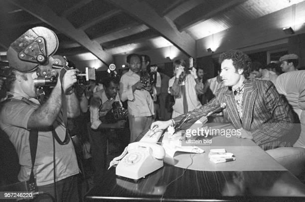 Der libyschen Revolutionsführer Oberst Muammar Abu Minyar alGaddafi aufgenommen im September 1979 bei einer Pressekonferenz vor ausländischen...
