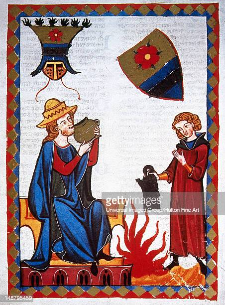 Der Marner moralistic 13th century poet sipping refreshing drink offered by his servant Codex Manesse by Rudiger Manesse and his son Johannes Fol...