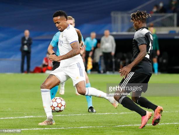 Éder Militão of Real Madrid in action during the UEFA Champions League group D match between Real Madrid and FC Sheriff at Estadio Santiago Bernabeu...