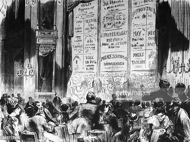 Der Reklamevorhang bei Krollzeitgenössische Zeichnung 1872