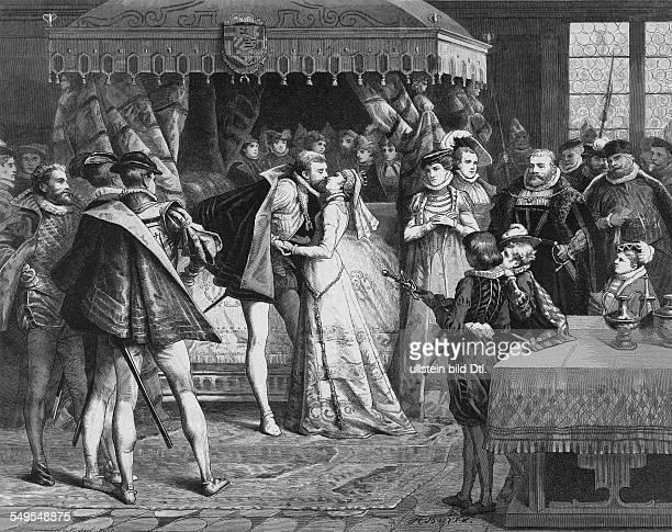 1533 1584 'der Schweiger' Statthalter der Niederlande 1572 1584 Graf von Nassau Hochzeit Wilhelms I mit Anna von Sachsen in Leipzig Rechts Kurfürst...