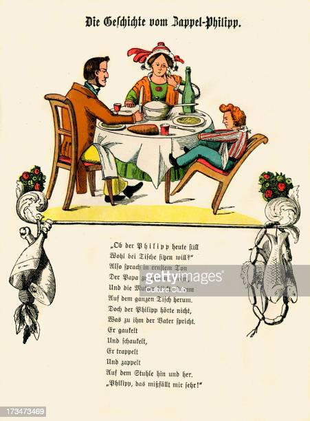 Der Struwwelpeter [Shockheaded Peter] by Dr Heinrich Hoffmann The Story of Fidgety Philip [Die Geschichte vom ZappelPhilipp] 1st page of cautionary...