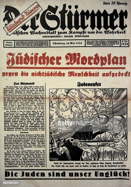Der Sturmer Weekly paper edited by the NSDAP Julius Streicher in Nuremberg Front page Special issue 1 May 1934 Headlines Jewish murder plan against...