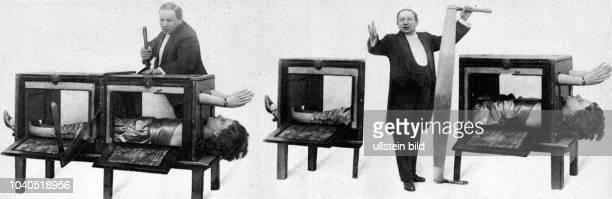 Der Variete-Künstler Horace Goldin zersägt im Hansa-Theater seine Frau. Aus: Hamburger Anzeiger vom